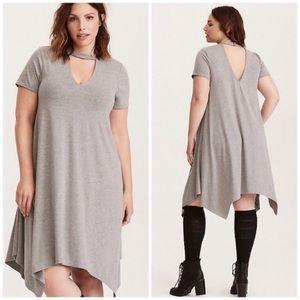 Torrid Gray Asymmetrical Crocker Neck Dress